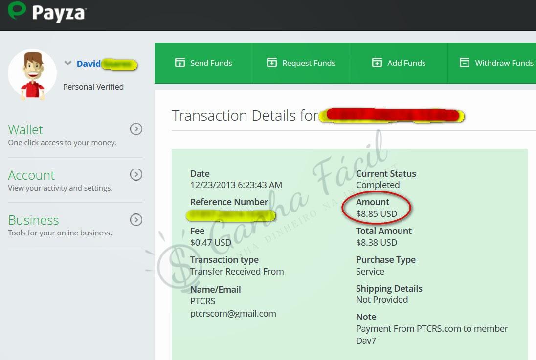 PTCRS pagamento dinheiro ganha ganhar payza money earn