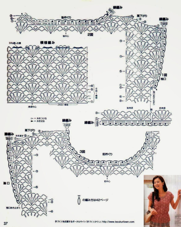 Японское вязание ажурные кофточки крючком