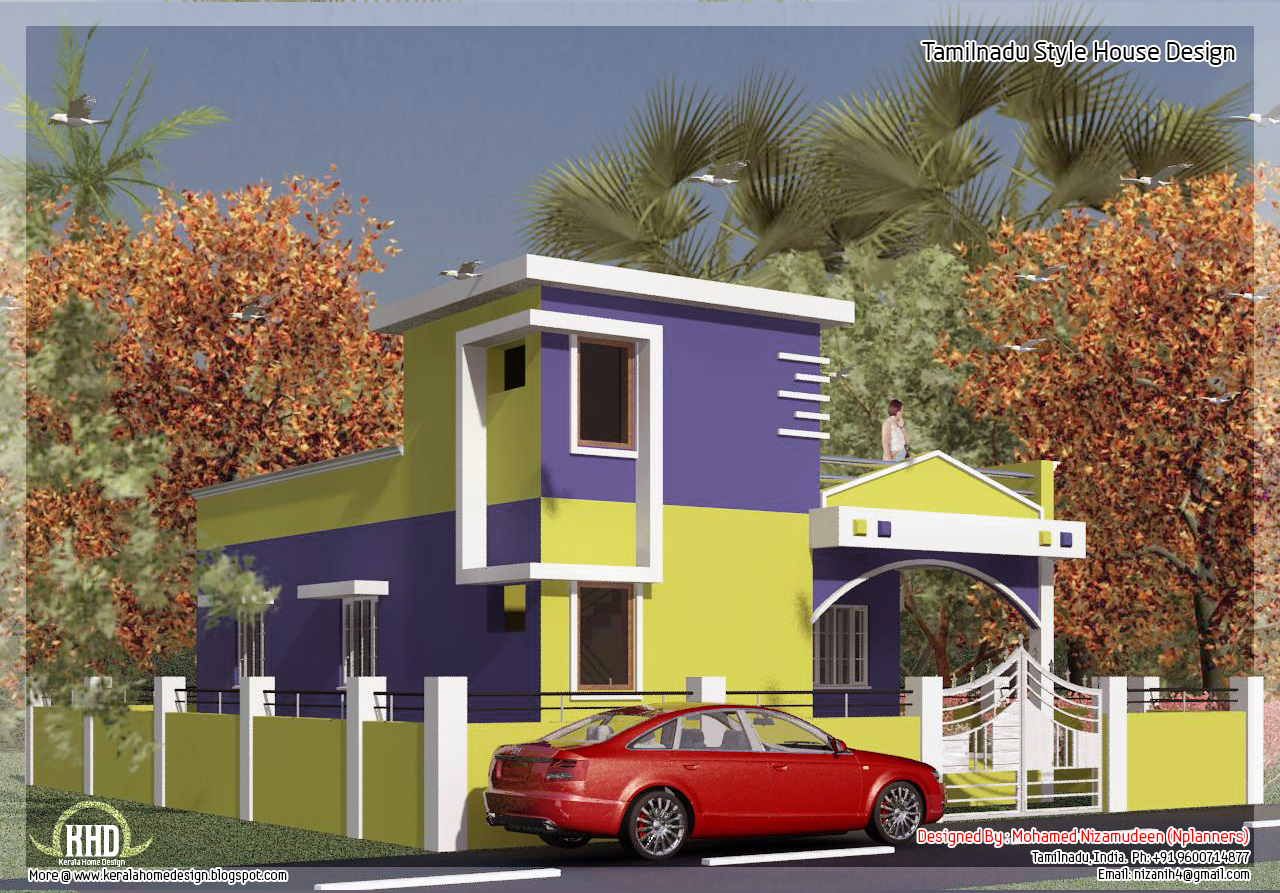 875 2 bedroom single floor home design home for Traditional house designs in tamilnadu