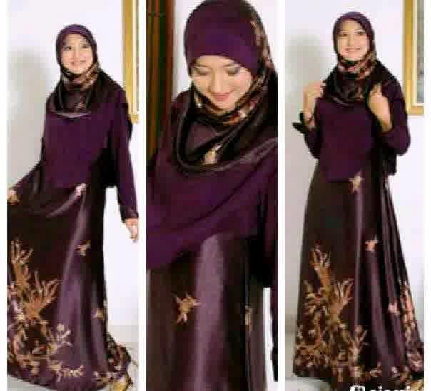 Baju Gaun Pesta muslimah Batik kombinasi sifon