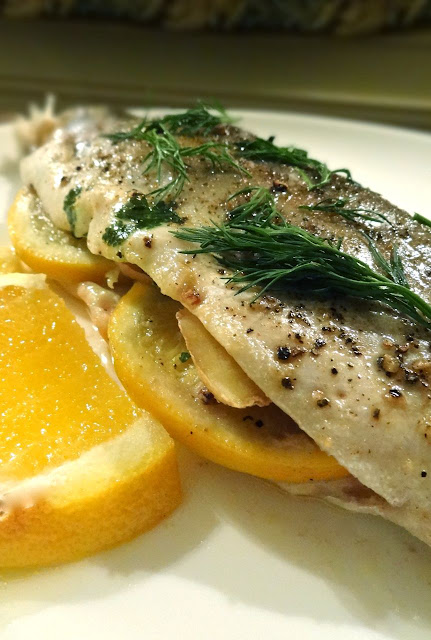 Scrumpdillyicious: Steamed Salmon Trout with Ginger, Orange & Dill