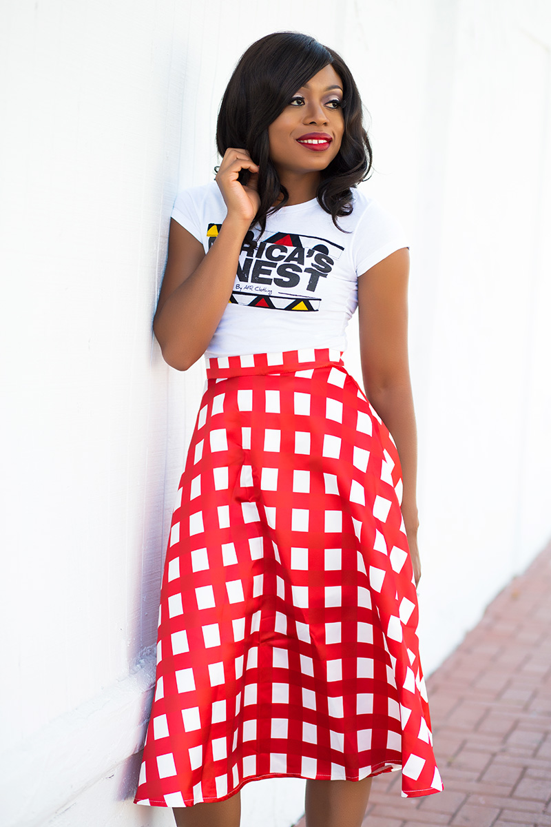 Chicwish full skirt, ankara tee, Christian Louboutin pumps