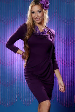 PURPLE KNIT ASYMMETRICAL NECK DRAPED LONG SLEEVE DRESS