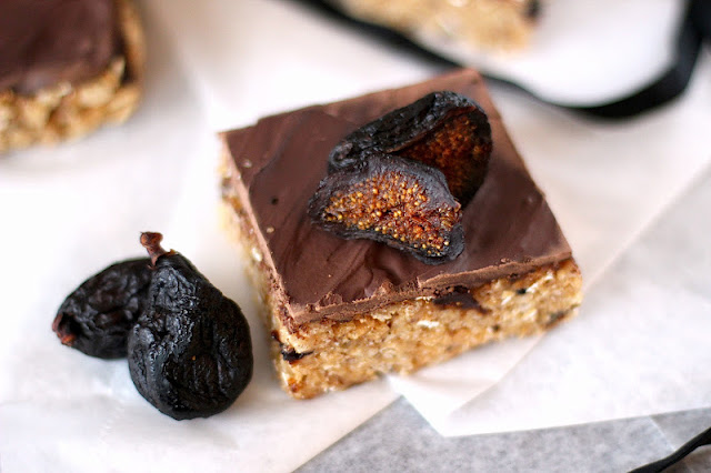 Healthy Walnut Fig Krispy Treats with Dark Chocolate Ganache