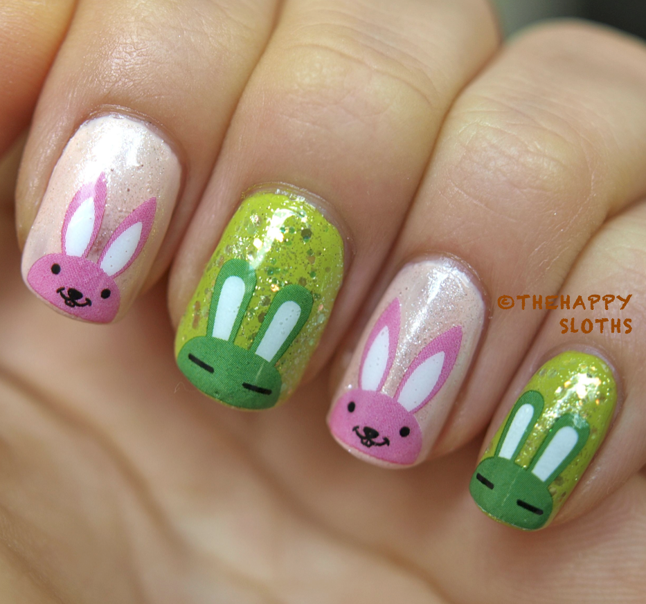Summer Bunnies Nails: Manicure Featuring Bunny Water Decal Nail ...