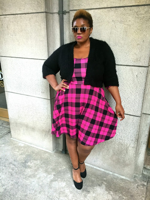 Plus Size Pink Plaid Dress Chicago Plus Size Blogger