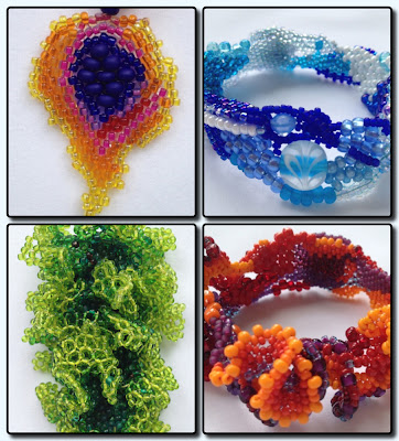 Four Bead Woven pieces by Karen Williams