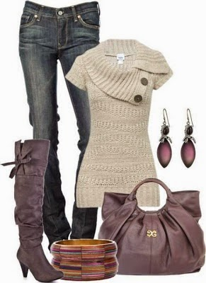Trendy women fashion 2013 I like the sweater and jeans. Boots would not be heels - really