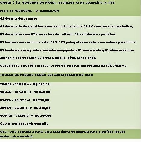 Tabela de Preços/Diária