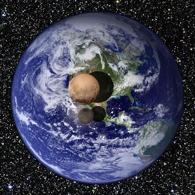 Сравнительное изображение Земли и Плутона с Хароном