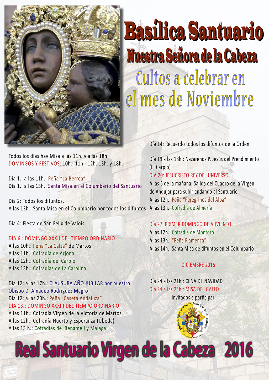CULTOS MESES DE NOVIEMBRE 2016 EN EL SANTUARIO.