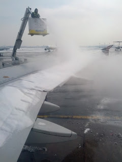 De-icing the wing of our Virgin America AIrbus.