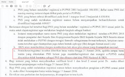 Surat edaran Tidak Lanjur e-PUPNS