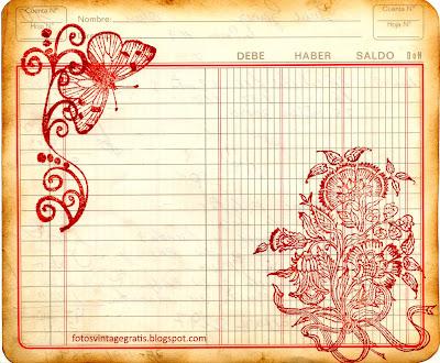 fondo vintage con flores y mariposas sobre cuaderno de cuentas antiguo