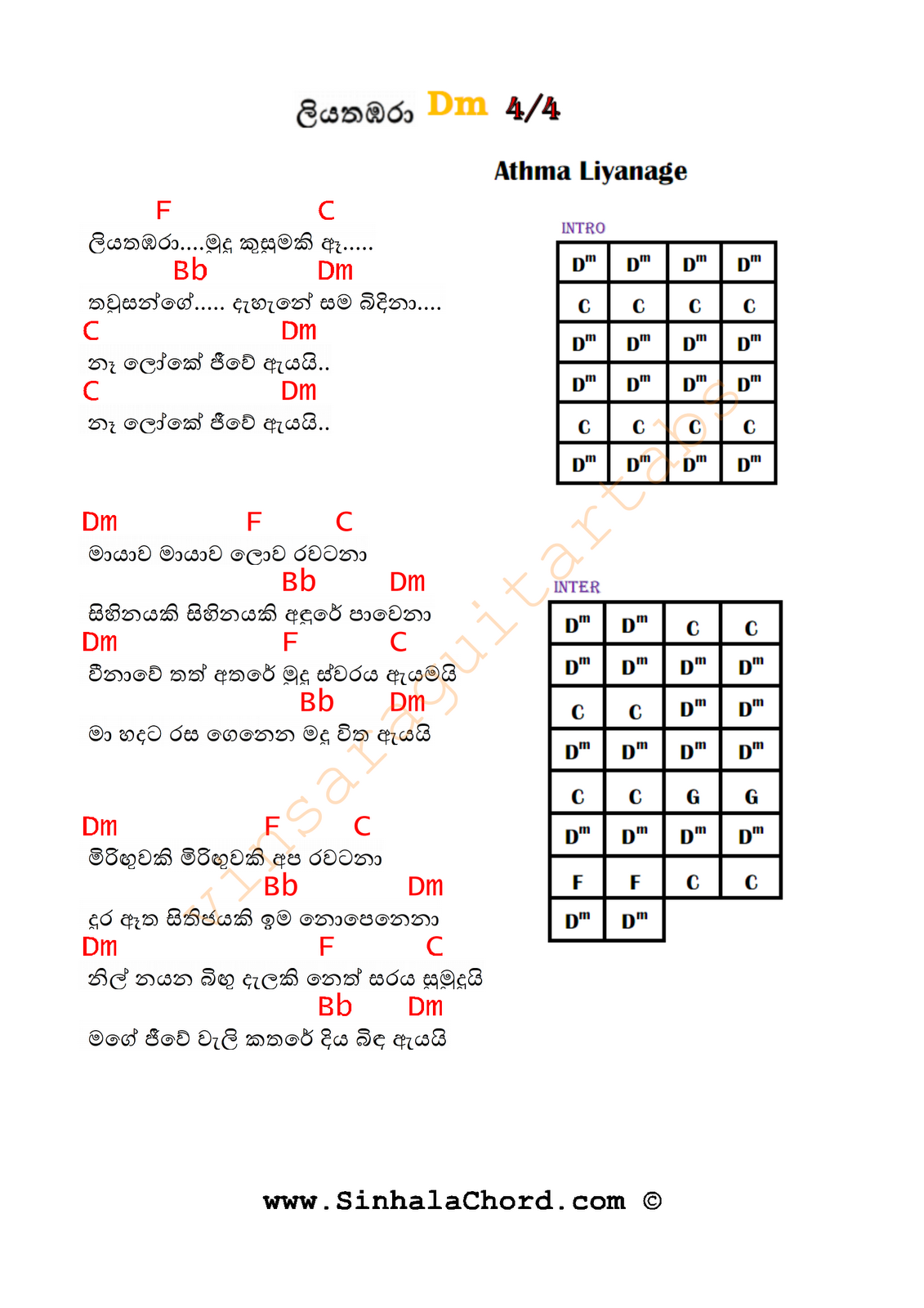 Liyathambara Guitar Chords Sinhala Guitar Chordssinhala Songs