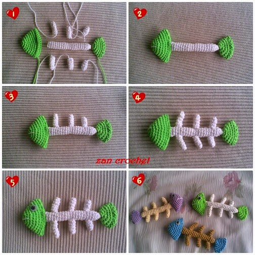 Fishbone Crochet Pattern Free : Amigurumi Fish Bone ~ Zan Crochet