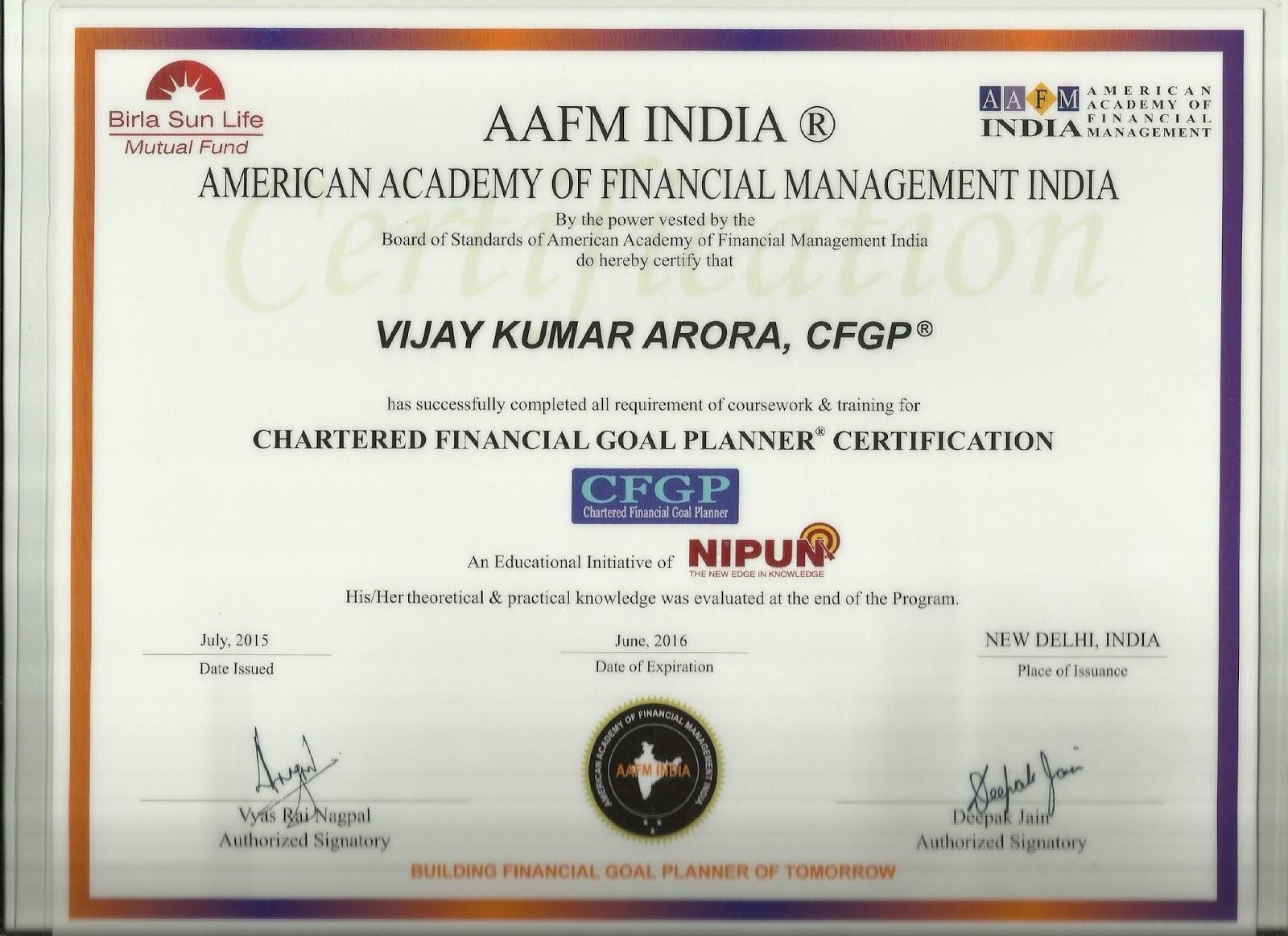 Chartered Financial Goal Planner Certification 31 07 2015