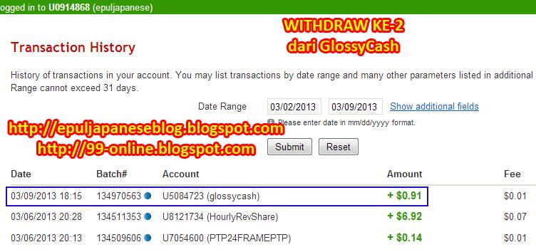 Pembayaran kedua dari GlossyCash
