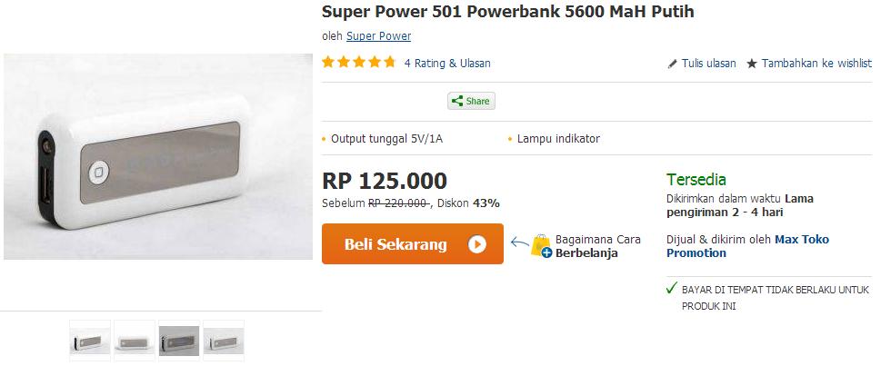 Beli Super Power 501 Powerbank 5600 MaH Putih