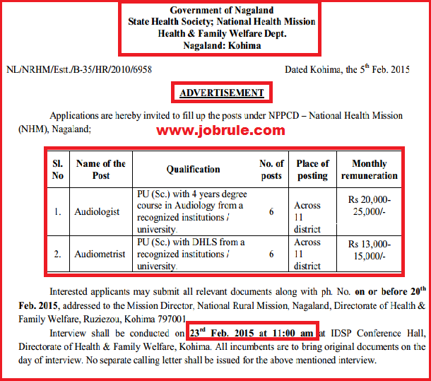 Nagaland NRHM NPPCD latest Audiologist & Audiometrist Jobs Opening Advertisement February 2015