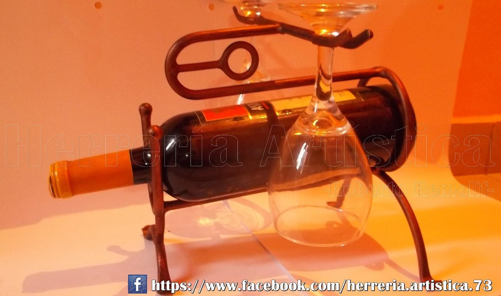 Posa botella y copas herrer a art stica for Bancas para jardin de herreria