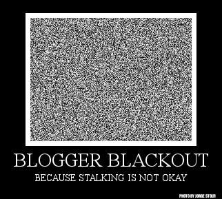 Blogger Blackout Badge Description: White noise picture over a black background. Under the image it reads: Blogger Blackout, Because Stalking is Not Okay