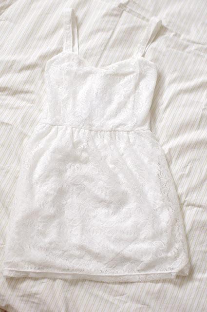koronkowa, biała, sukienka, dziewczęca, terranova, moda