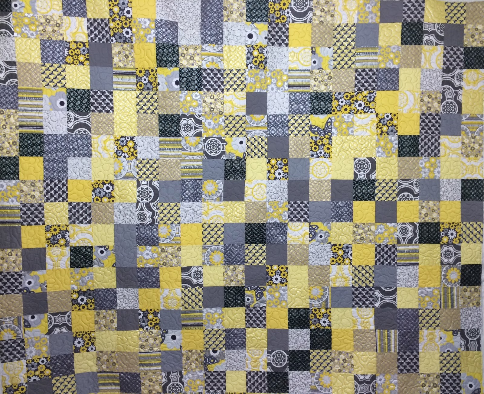 Brigitte Florschutz Yellow and Gray Quilt