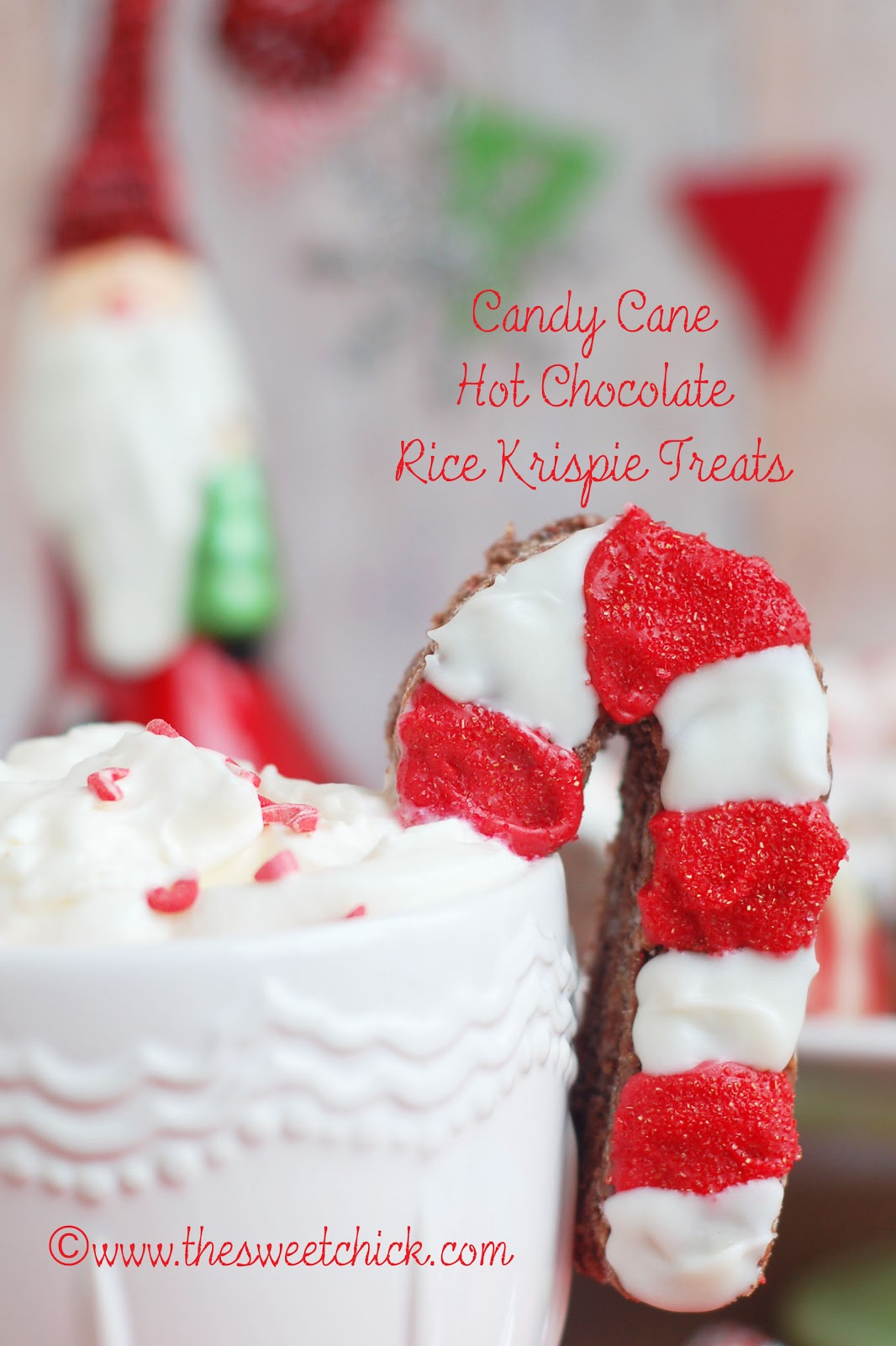 The Sweet Chick: Candy Cane Hot Chocolate Rice Krispie Treats (# ...