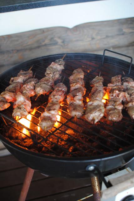 recept, grillspett, fläskfile, bacon