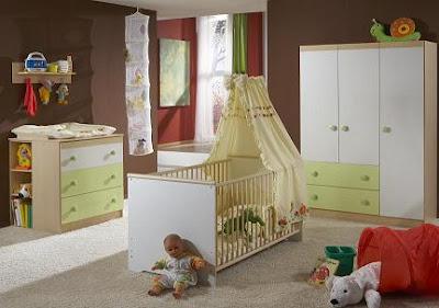 habitación bebé verde marrón chocolate