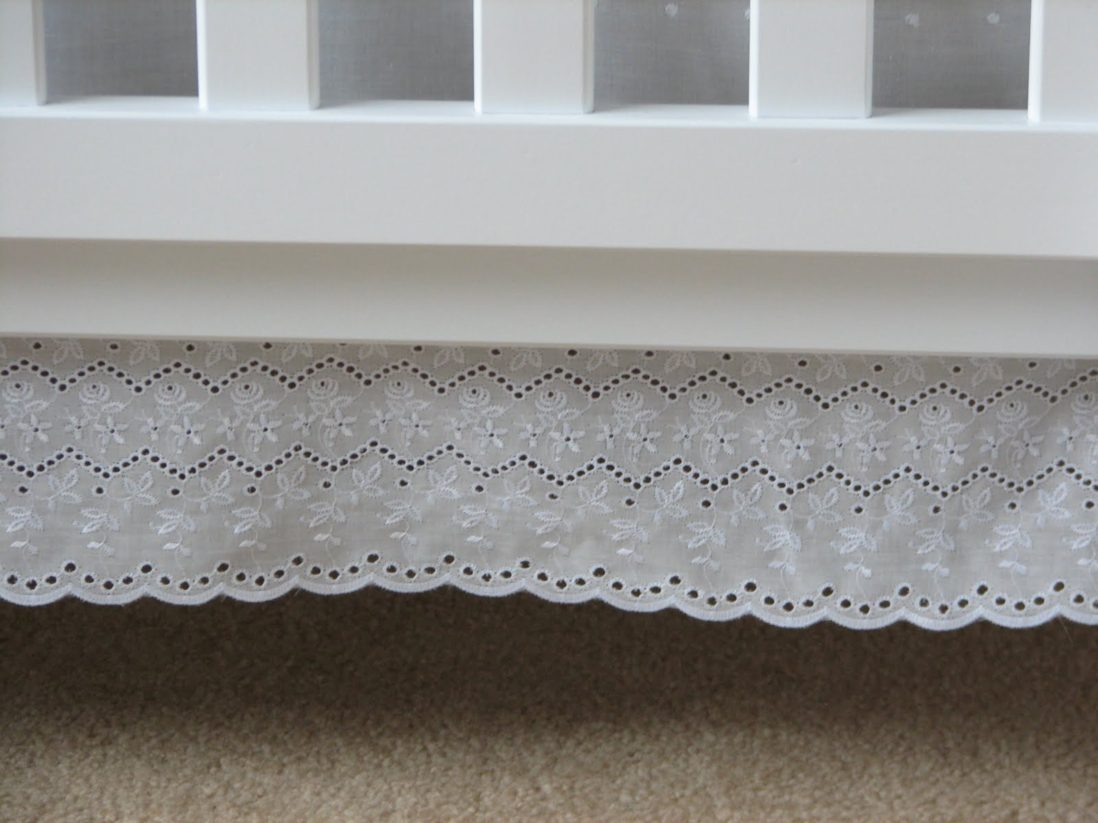 Baby crib gertie - The Crib Skirt Is Made From White Cotton Eyelet Not Only Does The Sweet Scalloped Edge Mimic The Scalloped Pattern Stenciled On The Nursery Walls