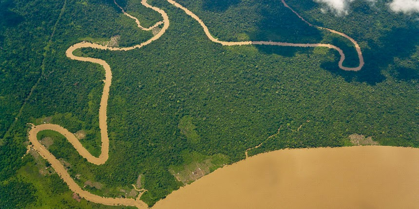 winding river from the air, East Kalimantan, Indonesia