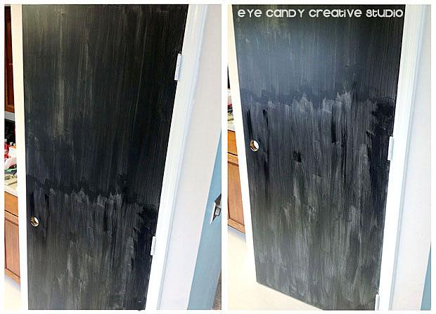 painting the pantry door in chalkboard paint, kitchen door makeover, paint