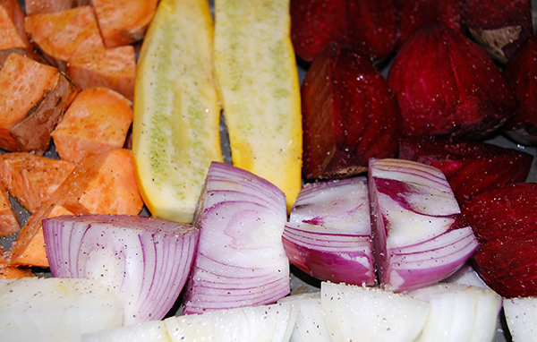 roasted yams, squash, beets, and onions seasoned with olive oil, salt and pepper