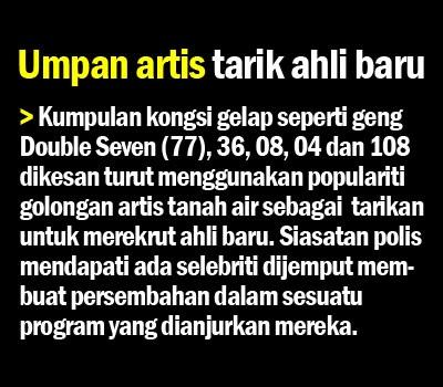 Geng 77 36 08 04 dan 108 Rekruit Ahli Samseng Guna Artis