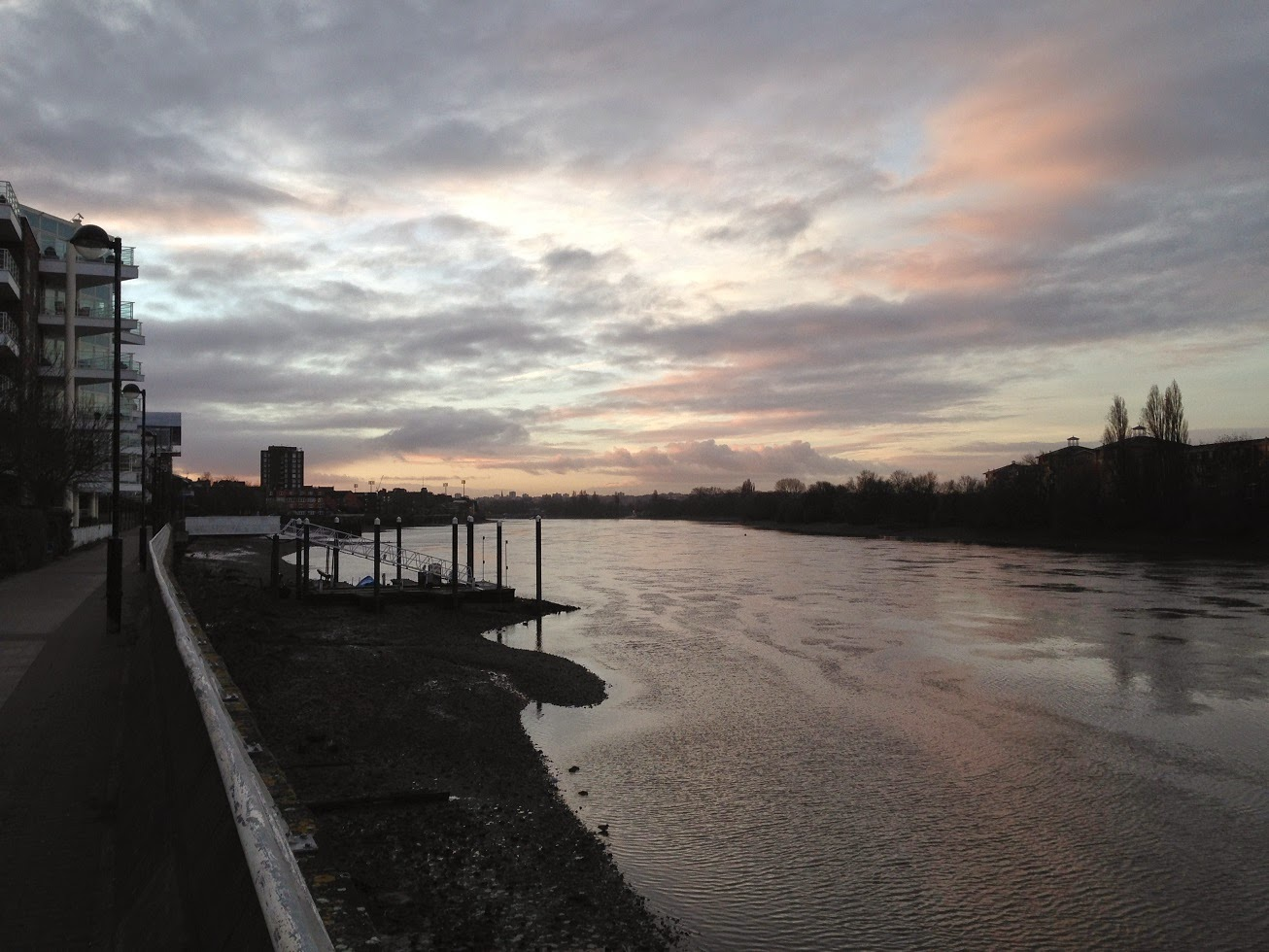 River Thames, looking towards Fulham and Putney, London