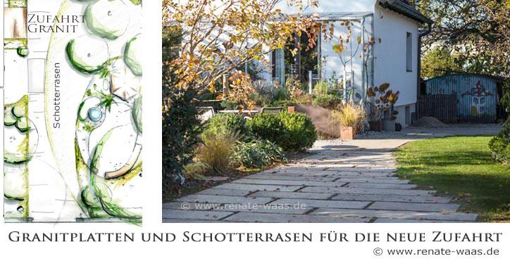 Die Zufahrt wird neu gestaltet mit befahrbarem Rasen - auch Schotterrasen genannt und alten Granitplatten