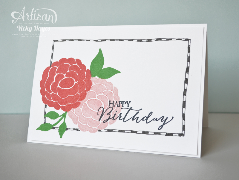 Stampin' Up Project Life markers make it easy to add a doodled frame to your card front
