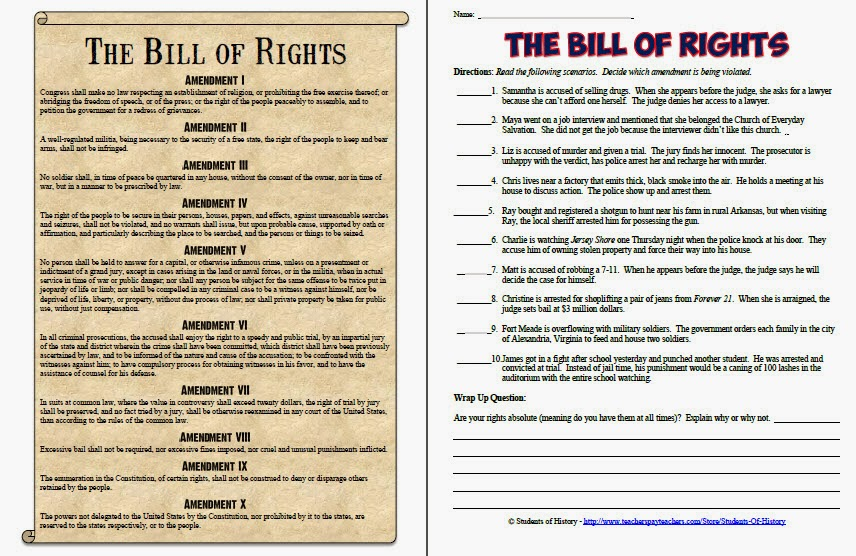 Terrible image within bill of rights printables