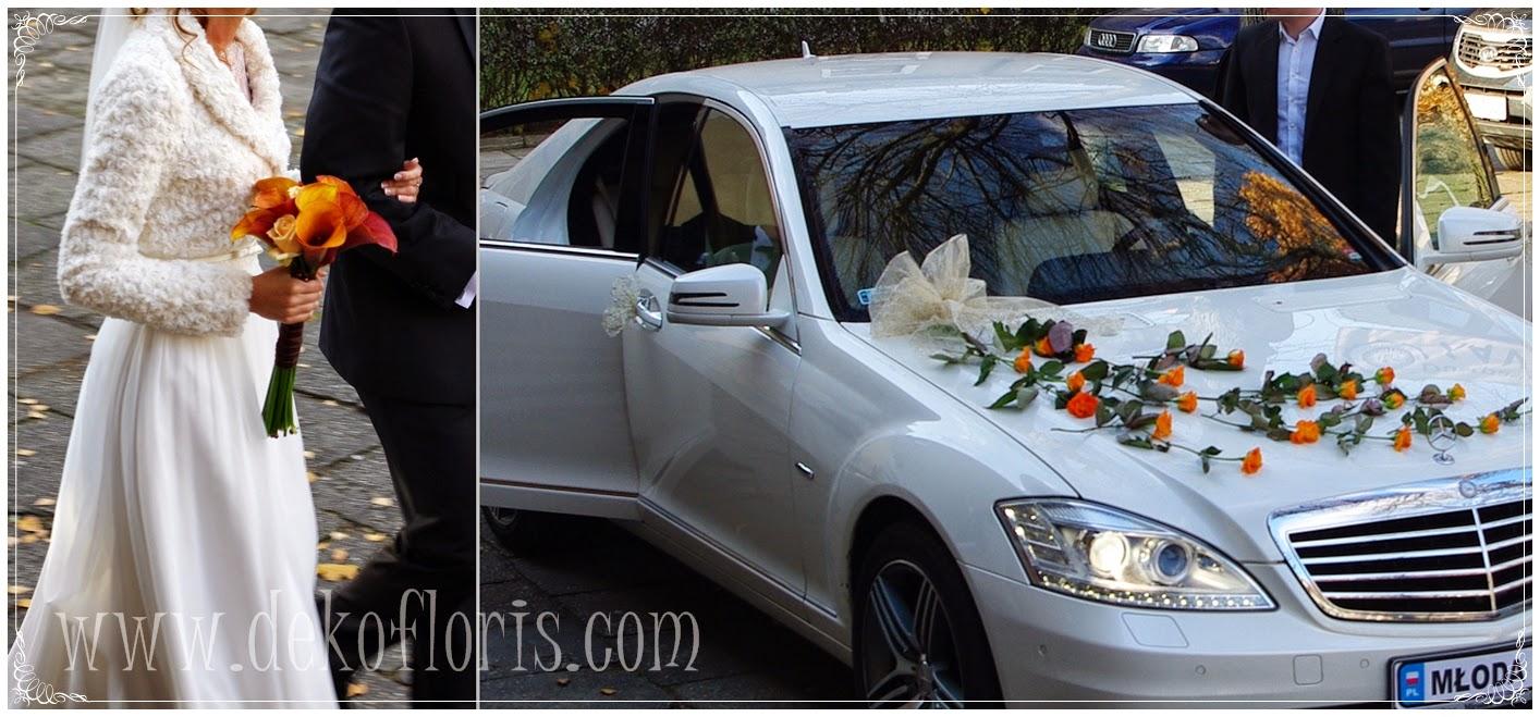 bukiet slubny do kremowej sukni slubnej Opole, dekoracja ślubna samochodu pomarańczowe herbaciane róże