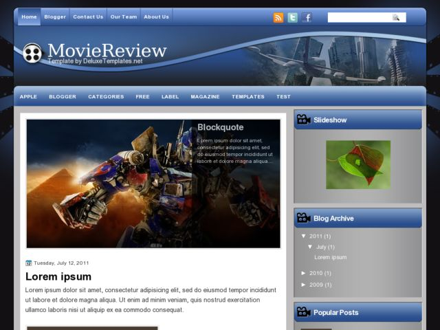 MovieReview Blogger Template