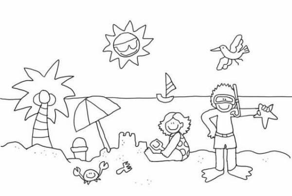 Niños jugando en la playa para colorear - Dibujo Views