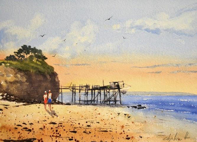 Denis chabault les carnets aquarelle la cabane de p che au carrelet - La cabane de l aiguillon ...