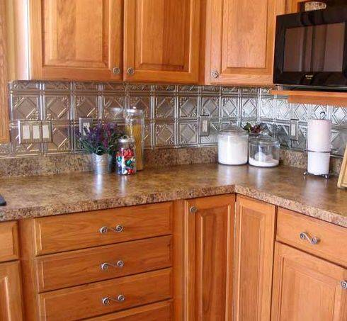 Kitchen metal backsplash ideas for Kitchen ideas backsplash
