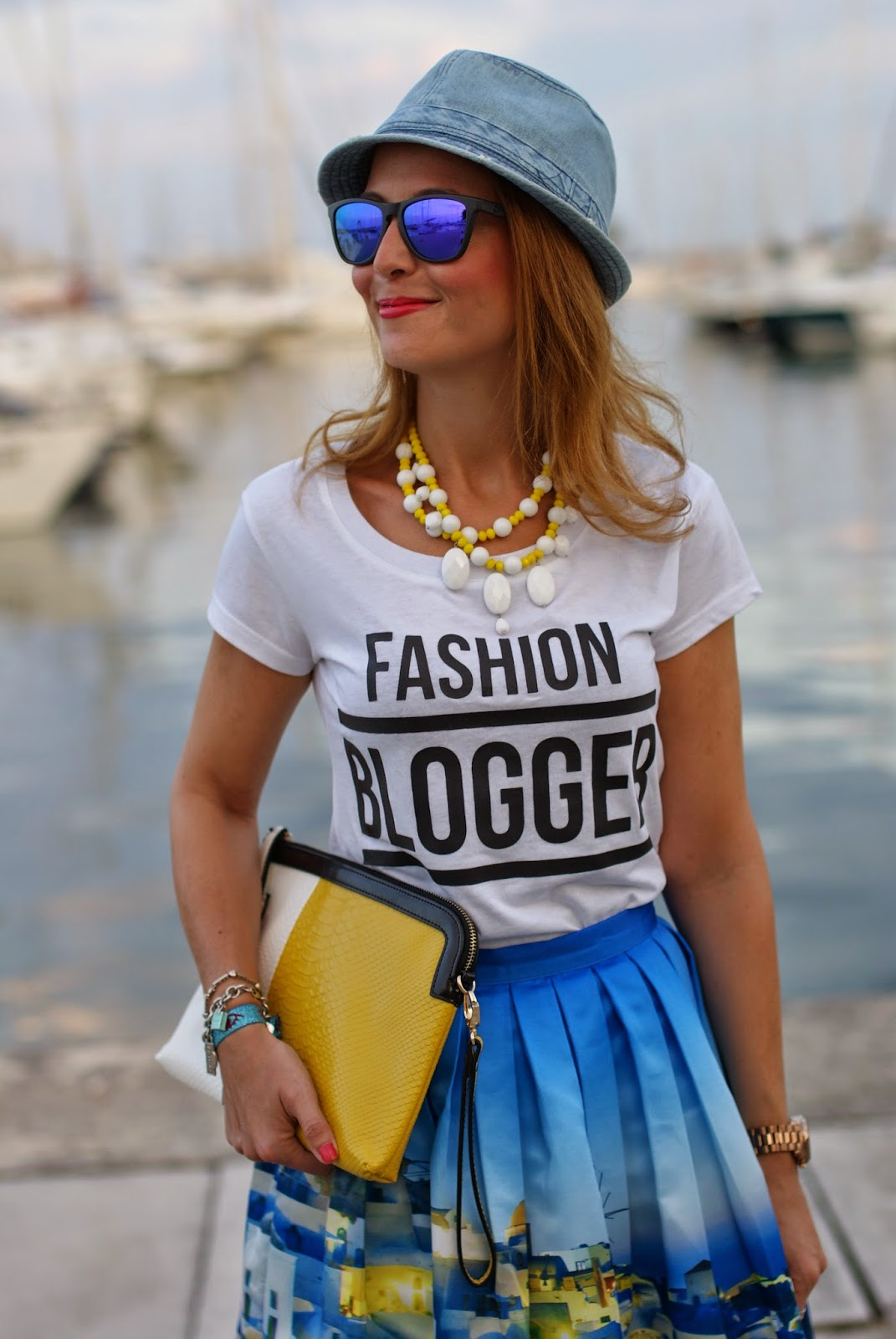 denim hat, fashion blogger t-shirt, santorini skirt, Fashion and Cookies, fashion blogger