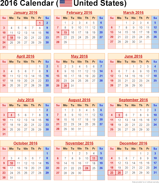 Printable 2016 Calendar with US Holidays PDF Excel, 2016 Monthly ...