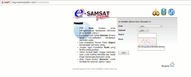 Halaman E-Samsat Jatim