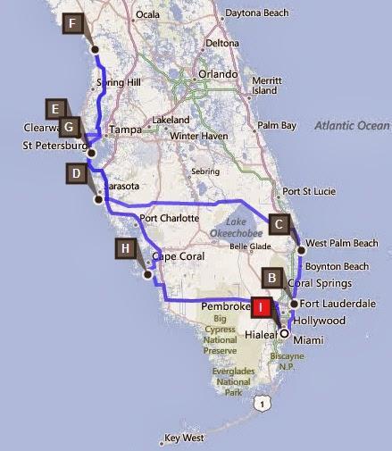 Reiseroute 2 Wochen Florida