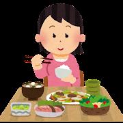 食事をしている女性のイラスト